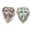 Glass Bead Leaves 10x8mm Black Diamond Aurora Borealis - Strung